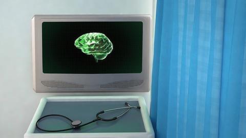 green brain rotate medical screen closeup Stock Video Footage