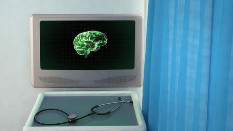 green brain rotate medical screen closeup Stock Video Footage