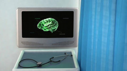 green brain with code closeup Animation