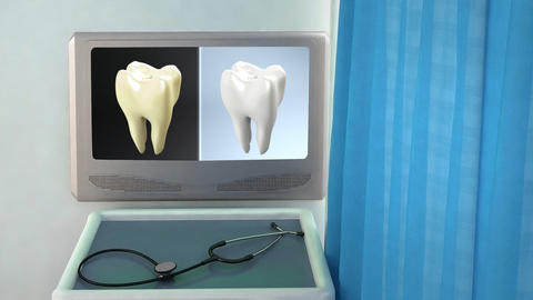 tooth contrast medical screen closeup Animation