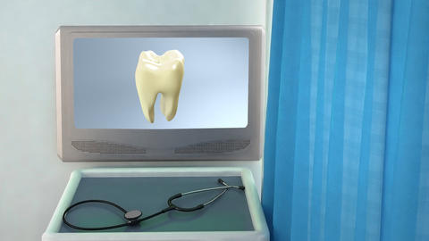 yellow tooth to white tooth medical screen closeup Animation