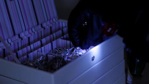 Burglar at night Stock Video Footage