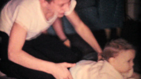 Baby Girl Wrestling With Older Brothers 1962 Stock Video Footage