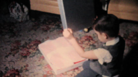 Boy Gets Red Sweater For Christmas 1962 Vintage Stock Video Footage