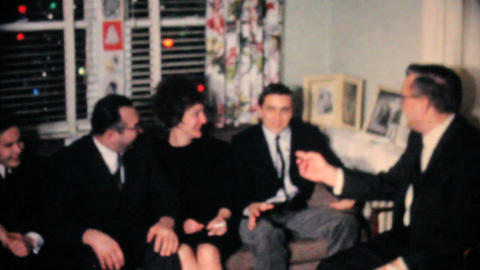Family Enjoying Time Together At Christmas 1962 Footage