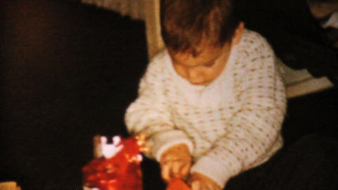 Little Boy Gets Toy Car For Christmas 1962 Vintage Stock Video Footage