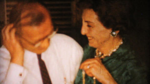 Woman Gets Necklace From Husband At Christmas 1962 Stock Video Footage