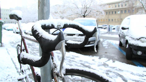 Bicycle in snow Stock Video Footage