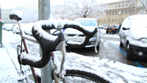 Bicycle in snow Footage