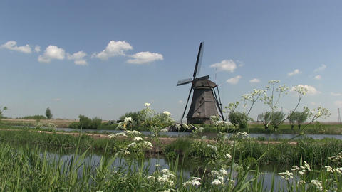 Dutch windmill at Kinderdijk Footage