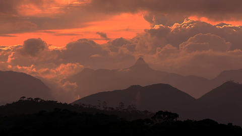 Adam peak at sunset Stock Video Footage