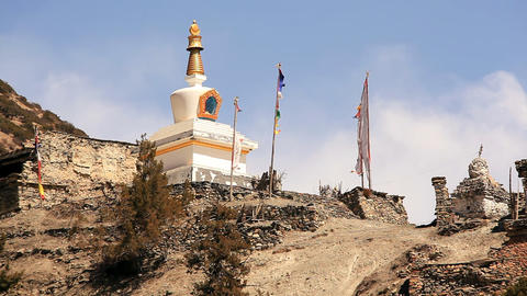 Buddism Stupa Flags Stock Video Footage
