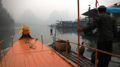 Traditional fishing with using trained cormorants Stock Video Footage