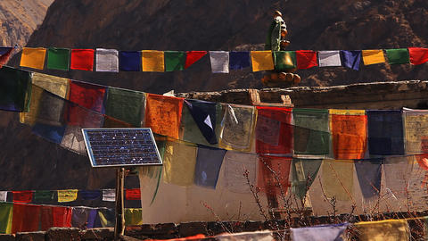 Solar Panel Among Tibetan Prayer Flags stock footage