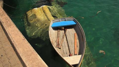 Sunken boat Stock Video Footage