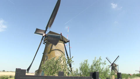 Windmills in Holland Stock Video Footage