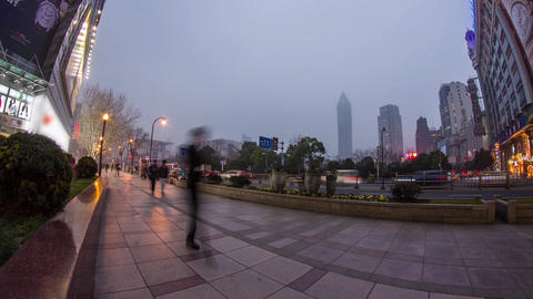 Fish eye view in Nanjing road in Shanghai Footage