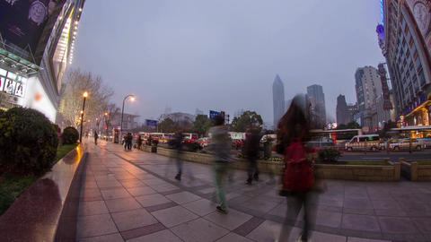 Fish eye view in Nanjing road in Shanghai Stock Video Footage