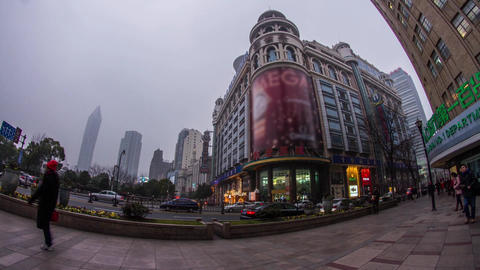 Fish eye shot crowds traffic in Nanjing road Stock Video Footage