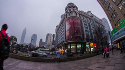 Fish eye shot crowds traffic in Nanjing road Footage