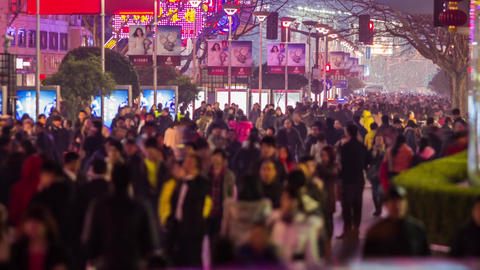 Anonymous crowds in Nanjing road at night Stock Video Footage