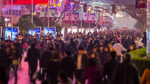 Anonymous crowds in Nanjing road at night Footage