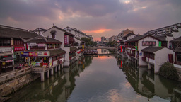 Sunset in Qibaozhen, Shanghai, China Stock Video Footage