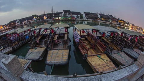 Day to night fish-eye view in Zhujiajiaozhen Stock Video Footage