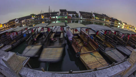 Day to night fish-eye view in Zhujiajiaozhen Footage