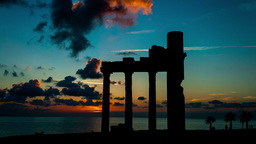 Sunset and anciend ruines Stock Video Footage