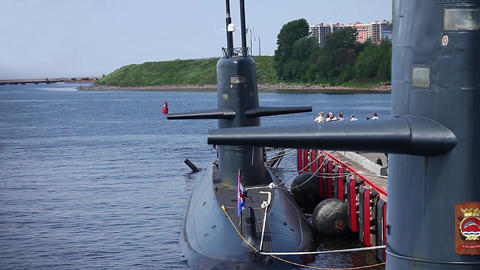 submarine at the pier Stock Video Footage