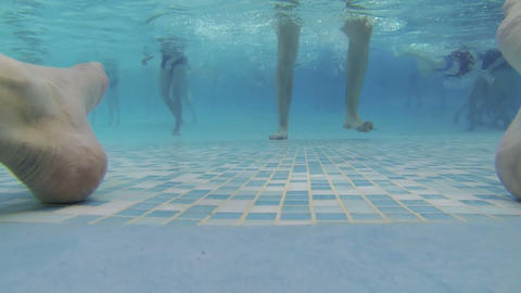 People swim in the water Park Stock Video Footage