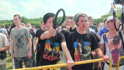 Opponents of gay men and lesbians at the rally Stock Video Footage