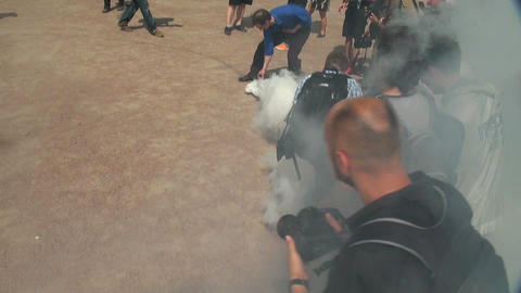 Smoke bomb at the rally Stock Video Footage