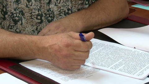 Men's hands and documents Stock Video Footage