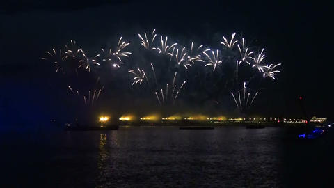 Fireworks over the Neva in St. Petersburg Footage