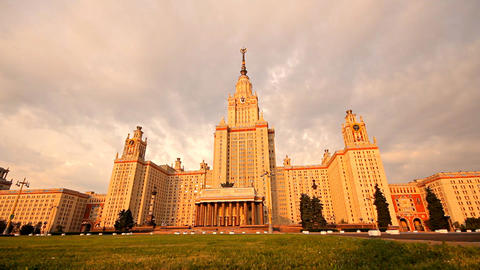 morning Moscow State University slider Stock Video Footage