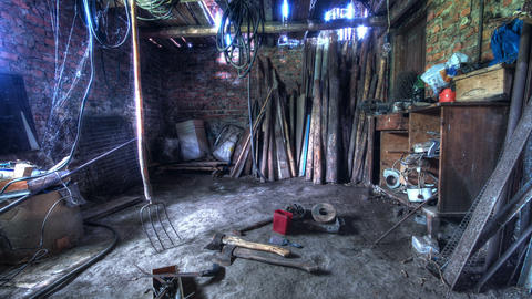 In The Old Barn. HDR Time Lapse Stock Video Footage