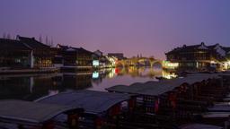 Day to Night shot of Zhujiajiaozhen, Shanghai Stock Video Footage