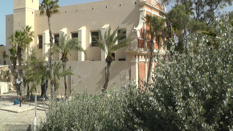 St. Peters Church in the old city of Jaffa Stock Video Footage