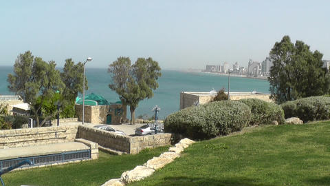 Sea coast and the view of the Tel Aviv Footage