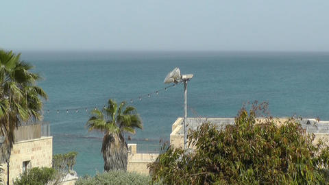 View of sea in old Jaffa city,Israel Footage