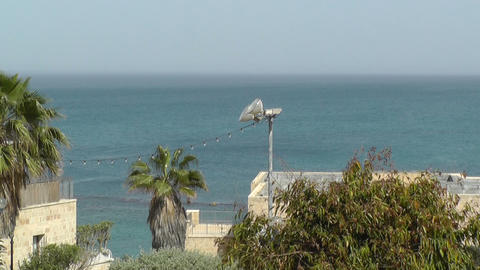 View of sea in old Jaffa city,Israel Stock Video Footage