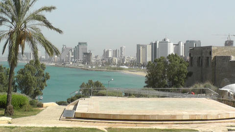 View of Tel-Aviv from Jaffa Stock Video Footage