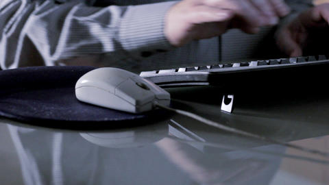 Man working at computer tracking Stock Video Footage