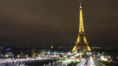 Time Lapse of Eiffel Tower at night Stock Video Footage