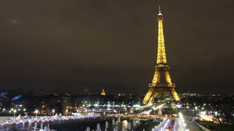 Time Lapse of Eiffel Tower at night Animation
