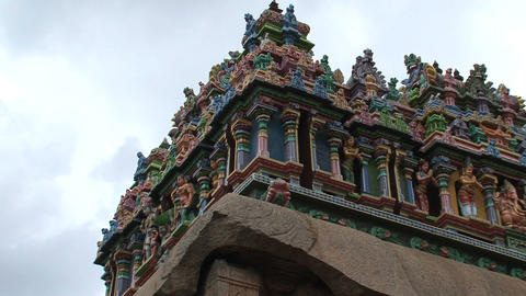 Colorful statues at the The Meenakshi Temple Footage