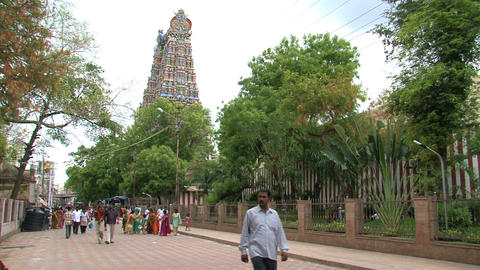 People walking around The Meenakshi Temple Footage