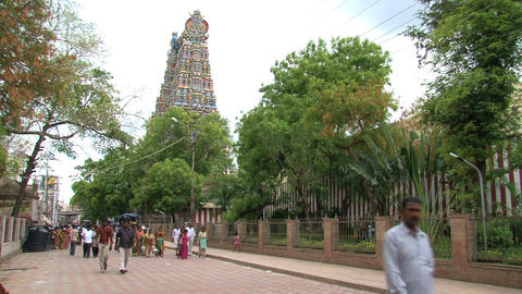 People walking around The Meenakshi Temple Stock Video Footage